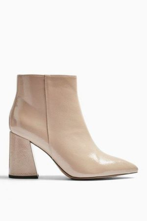 Taupe Pointy Patent Boots