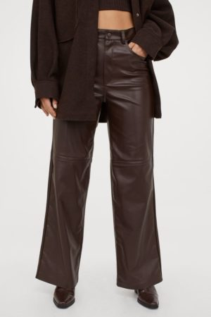 Imitation leather trousers H&M