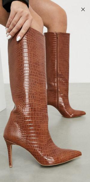 ASOS DESIGN Claudia knee high boots in tan